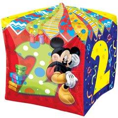 Balon Folie Cubez Mickey Mouse & Cifra 2 - 38cm, Amscan 28628