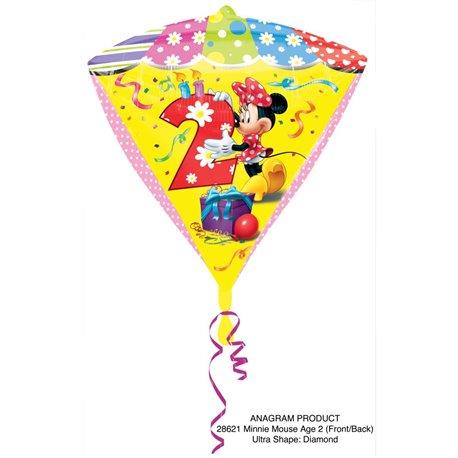 Balon Folie Diamonds Minnie Mouse & Cifra 2 - 38x43cm, Amscan 28621