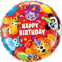 Balon Folie 45 cm Birthday Party Animals, Qualatex 14182