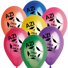 "Baloane latex sidefate 10""/26cm inscriptionate ""Azi e ziua mea"", Radar GMI90.AZM"