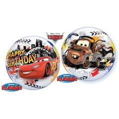 "Balon Bubble 22""/56cm Cars Happy Birthday, Qualatex 14759"