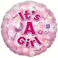 """Balon Folie 45 cm """"It's a girl"""", Amscan 2591801"""
