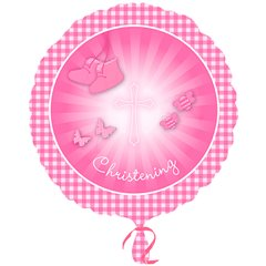 Balon folie 45cm Christening Booties Pink, Amscan 2930601