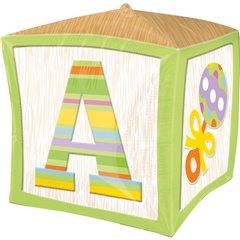 "Balon Folie Cubez Green Baby Block - 15""/38 cm, Amscan 28380"