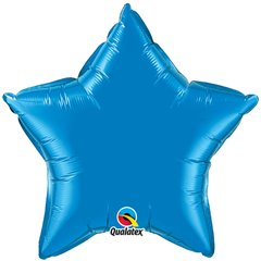 Balon mini folie albastru in forma de stea - 10 cm, umflat + bat si rozeta, Qualatex 22849, 1 buc