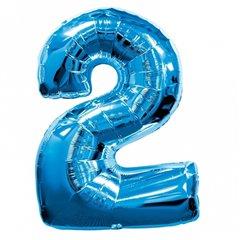 """Balon folie figurina albastru cu Cifra 2 - 34""""/86 cm, Amscan 1347361"""
