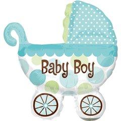 "Balon Folie Mini-Figurina Carucior Baby Boy  - 9""/23cm, Amscan 1807002"