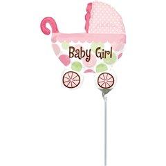 "Balon Folie Mini-Figurina Carucior Baby Girl - 9""/23cm, Amscan 1807202"