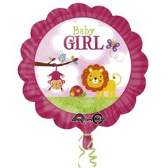 Balon folie 45cm Baby Girl Safari, Amscan 2684001