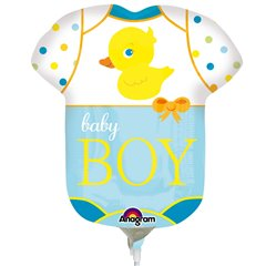 Balon Mini Figurina Baby Boy + bat si rozeta, Amscan 2886602