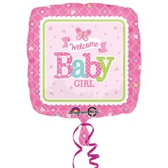 Balon folie 45cm Welcome Baby Girl Butterfly, Amscan 3074701