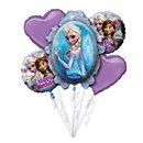 Buchet Baloane Happy Birthday cu Frozen, Amscan 2901101, Set 5 buc