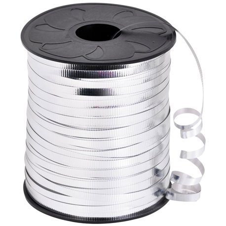 Rafie metalizata argento (argintie) pentru legat baloane latex sau folie - 100 m, Radar B36109, 1 rola