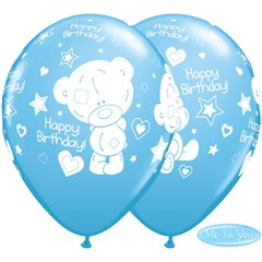 "Baloane latex 11""/28cm Pale Blue - Me to You Birthday, Qualatex Q12563, Set 25 buc"
