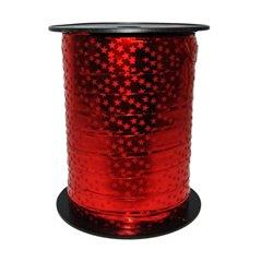 Rafie metalizata rosie cu stelute pentru decoratiuni - 10 mm x 15 m, Radar B49419