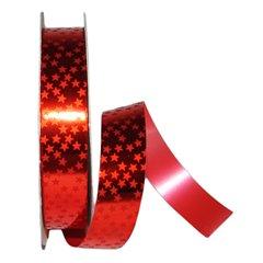 Rafie lata metalizata rosie cu stelute - 19 mm x 5 m, Radar B49442
