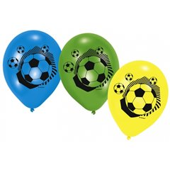 "Baloane latex 9""/23cm inscriptionate cu Fotbal, Amscan RM414100, Set 6 buc"