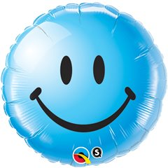 Balon Folie 45 cm Blue Smiley Face, Qualatex 29640