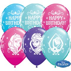 Baloane latex 11''/28cm Frozen - Happy Birthday, Qualatex 18676, Set 25 buc