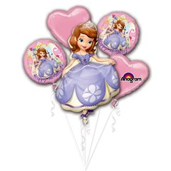 Buchet Baloane Happy Birthday cu Sofia The First, Amscan 2772101, Set 5 buc