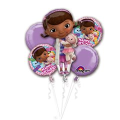 Buchet Baloane Happy Birthday cu Doc McStuffins, Amscan 2772201, Set 5 buc
