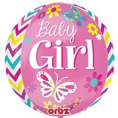 Balon Folie Orbz Sfera Baby Girl - 38x40 cm, Amscan 28776
