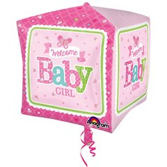 Balon Folie Cubez Welcome Baby Girl - 38x40cm, Amscan 3069101
