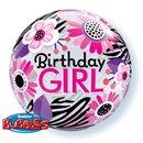 "Balon Bubble 22""/56cm Birthday Girl Floral Zebra Stripes, Qualatex 13738"