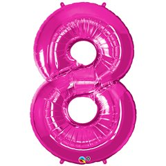 Balon Folie Cifra 8 Roz - 86cm, Qualatex 30596