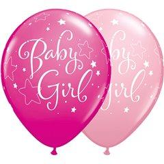 "Baloane latex 11""/28cm Baby Girl cu stelute, Qualatex 51814, Set 25 buc"