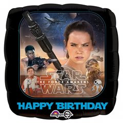 Balon Folie 45cm Star Wars The Force Awakens Happy Birthday, Amscan 3162001