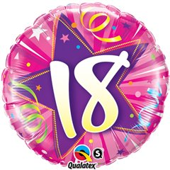 Balon folie 45cm pentru Majorat - Shining Star Hot Pink, Qualatex 24002