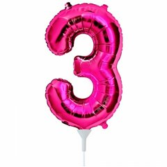 "Balon Folie Cifra 3 Magenta - 16""/41cm, Northstar Balloons 00445"