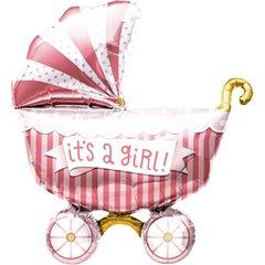"Balon Mini Figurina Carucior ""It's a girl"" + bat si rozeta, Northstar Balloons 01179"