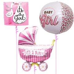 Buchet baloane folie Baby Girl - 43/46/102cm, Northstar Balloons 01241