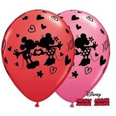 "Baloane latex 11""/28cm inscriptionate Mickey & Minnie Mouse, Qualatex 23187, Set 25 buc"