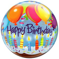"Balon Bubble 22""/56cm Happy Birthday, Qualatex 25719"