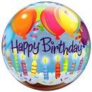 "Balon Bubble 22""/56cm Happy Birthday, Qualatex 25719"