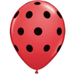 "Baloane latex 11"" inscriptionate Big Polka Dots Red / Black , Qualatex 29511"