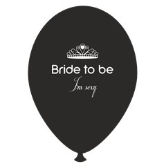 Baloane latex negre pentru burlacite - Bride to Be I'm Sexy, Radar GI.BTBIS.BK
