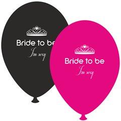 Baloane latex asortate pentru burlacite - Bride to Be I'm Sexy, Radar GI.BTBIS.BK/FUCHSIA