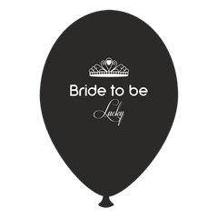 Baloane latex negre pentru burlacite - Bride to Be Lucky, Radar GI.BTBL.BK