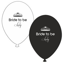 Baloane latex asortate pentru burlacite - Bride to Be Lucky, Radar GI.BTBL.BK/WH