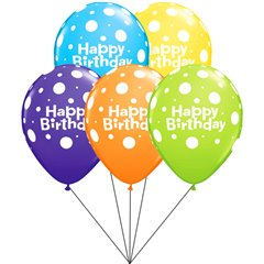 Buchet din baloane latex asortate Happy Birthday cu heliu, Qualatex BB.Q96899