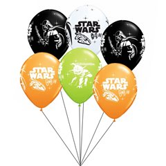 Buchet din baloane latex asortate Star Wars cu heliu, Qualatex BB.Q19363