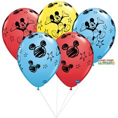 Buchet din baloane latex asortate Mickey Mouse cu heliu, Qualatex BB 18688
