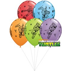 Buchet din baloane latex asortate Testoasele Ninja cu heliu, Qualatex BB.Q11296
