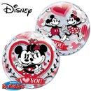 "Balon Bubble 22""/56cm Mickey & Minnie - ""I love you"", Qualatex 21892"