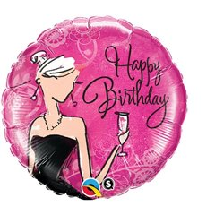 Balon Folie 45 cm Happy Birthday Black Dress, Qualatex 45330