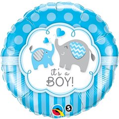 Balon Folie 45 cm It's a Boy Elephants, Qualatex 45109